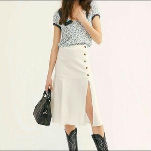 NWT Free People White Poppy Linen Midi Skirt